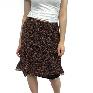 Casual Corner Annex Black Floral Skirt